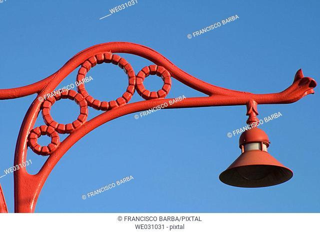 Street lamp at waterfront, La Coruña. Galicia, Spain