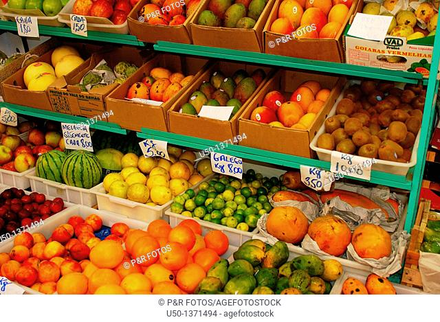 Fruits stall in the market, Curitiba, Paraná, Brazil, 2009