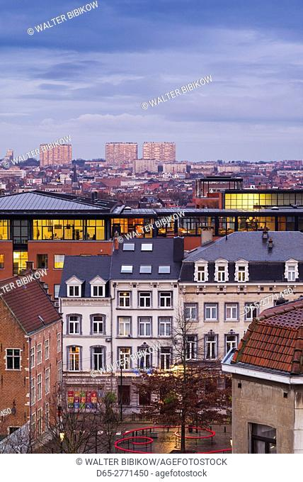 Belgium, Brussels, Place Poelaert, elevated view of the Marolles area, dawn