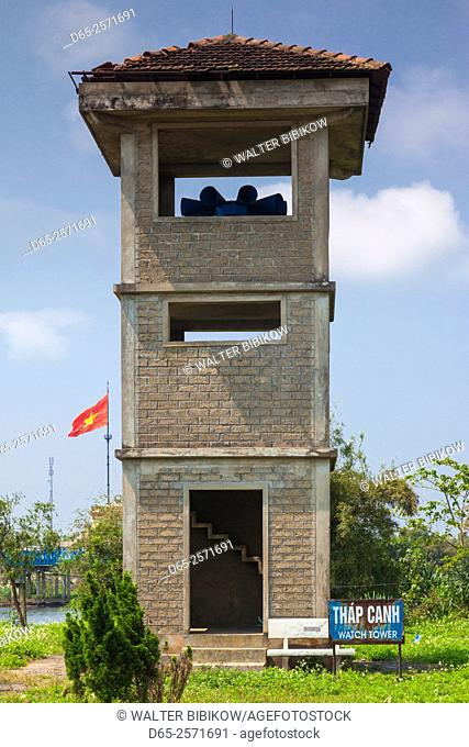 Vietnam, DMZ Area, Quang Tri Province, Ben Hai, war memorial at site of former north and south Vietnam border post, border tower