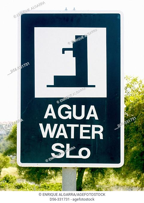 Water sign at freeway. Alicante province, Spain