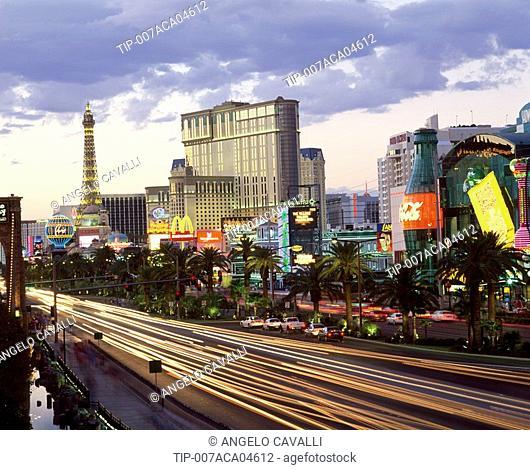 USA, Nevada, Las Vegas. streaming lights of Las Vegas Boulevard The Strip at dusk