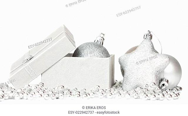 Christmas background with Christmas ball and gift box