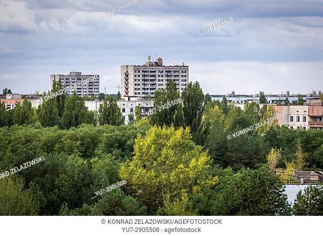 Aerial view of Pripyat ghost city of Chernobyl Nuclear Power Plant Zone of Alienation around nuclear reactor disaster in Ukraine