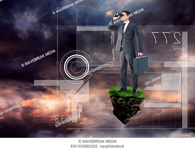 Businessman with binoculars on floating rock platform with futuristic interface in sky