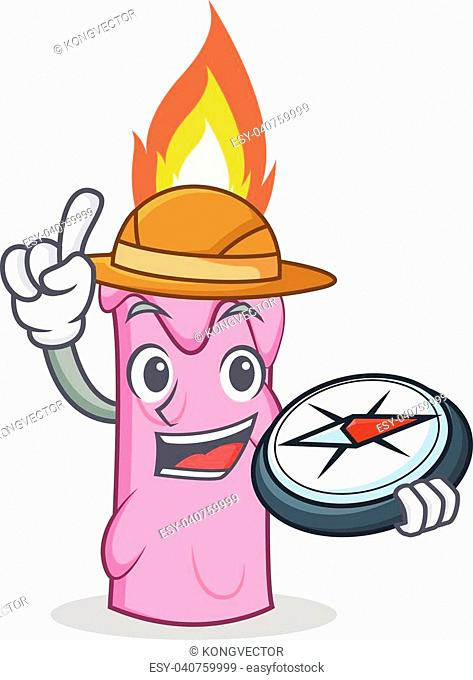 explorer candle character cartoon style vector illustration