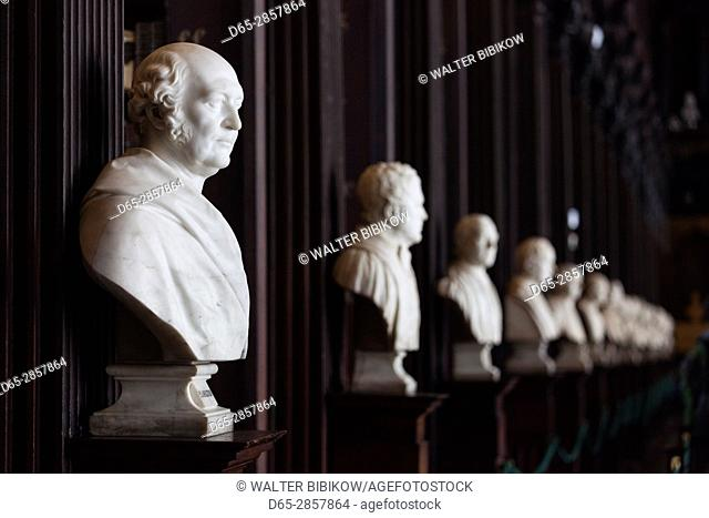 Ireland, Dublin, Trinity College, Old Library building, Long Room, busts