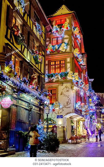 Restaurants at night on Christmas time Strasbourg Alsace France