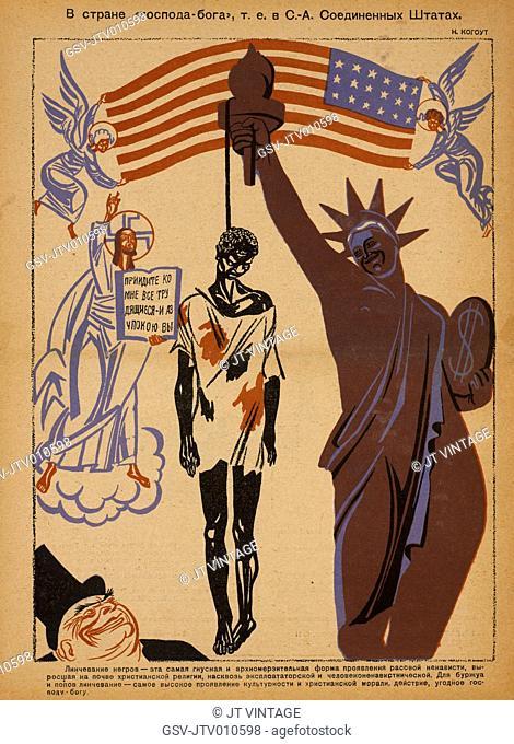 Soviet Propaganda Magazine Interior, Bezbozhnik u Stanka (Atheist at his Bench) Magazine, Illustration by Nikolai Kogout, 1930