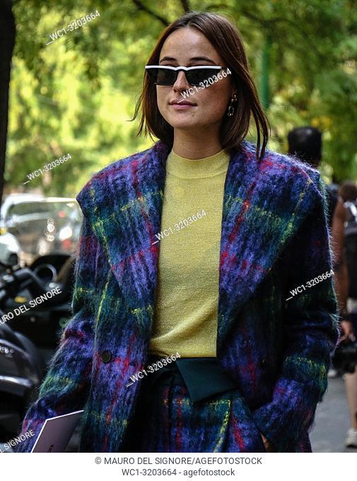 MILAN, Italy- September 20 2018: Lena Lademann on the street during the Milan Fashion Week