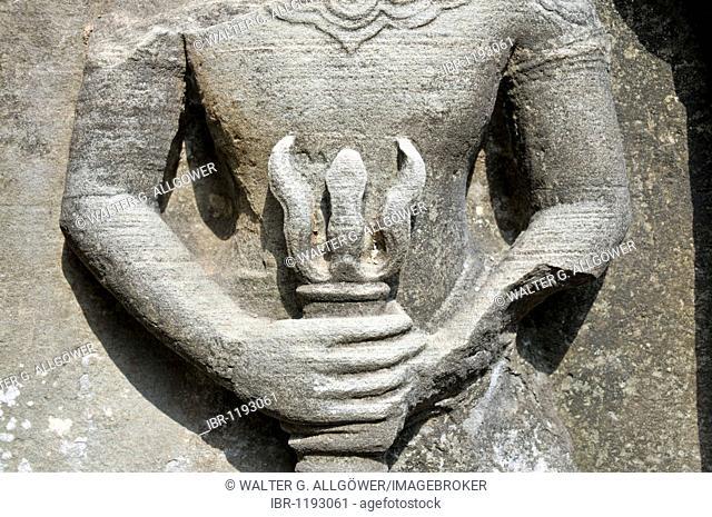 The Hindu god Shiva with his trident, Ta Som temples, Prasat Ta Som, Angkor, Cambodia, Asia