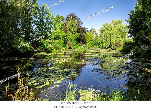 The Water Lily Pond in summer, garden at the home of Impressionist painter Claude Monet in Giverny, Eure, Normandy, France