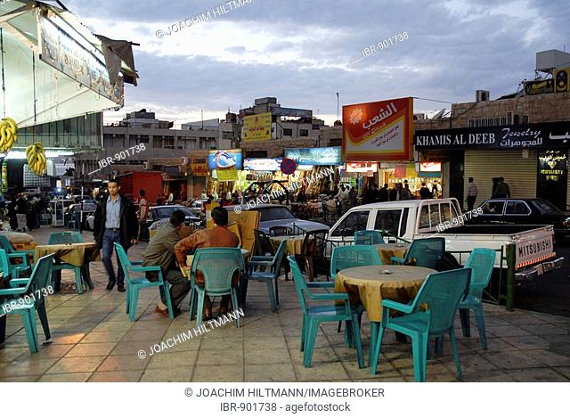 Evening street scene in Aqaba, Jordan, the Middle East, Asia