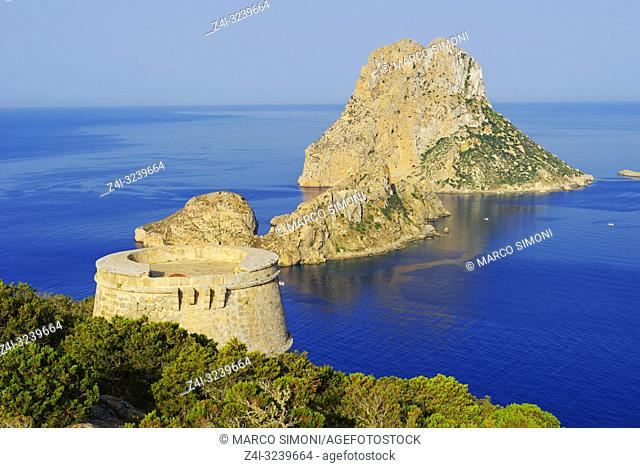 Torre des Savinar and Es Vedra Islands in background, Ibiza, Ibiza Island, Balearic Islands, Spain,