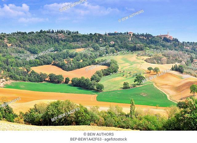 Tuscan landscape with view of Pienza, Val d'Orcia, Tuscany, Italy