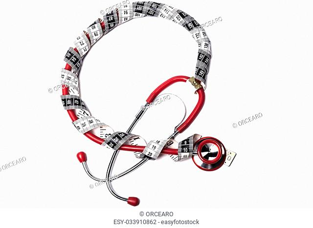 Red Stethoscope With Black Measuring Tape isolated on White