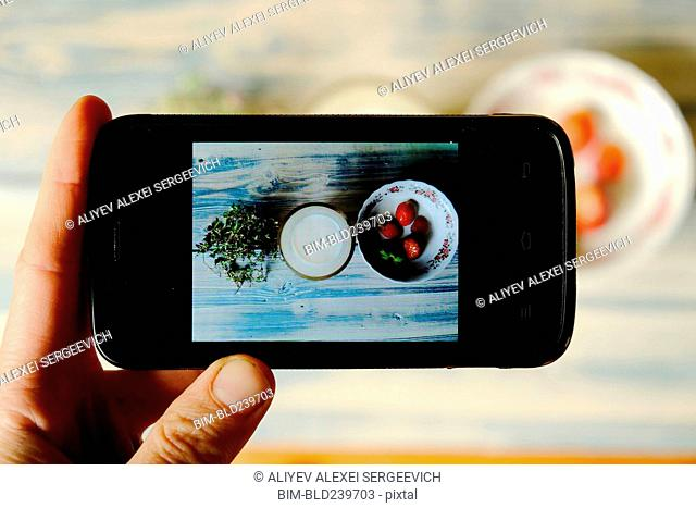 Hand of Caucasian woman photographing food