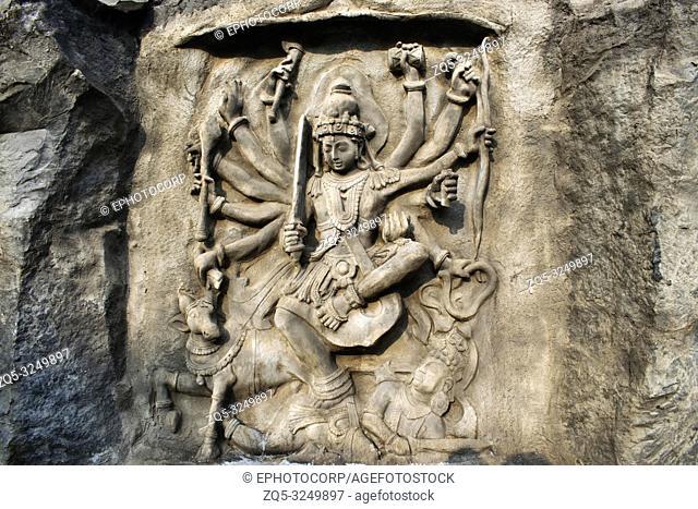 Mahishasur Mardini, Hadshi Temple, Sant Darshan Museum, near tikona Vadgoan Maval, District Pune, Maharashtra, India