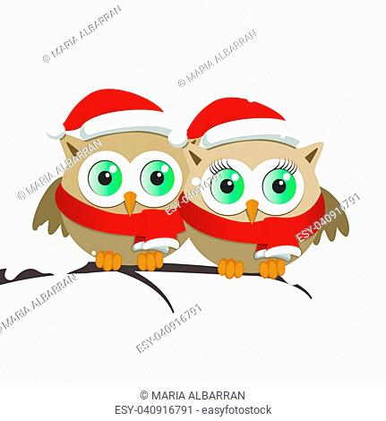 Couple of owls with Santa Claus hat on a branch. Christmas vector illustration