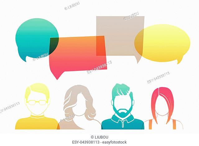 Men and women avatar profile picture set. Businessman, coworkers, team, think, Question. Idea, Brainstorm Business concept vector illustration