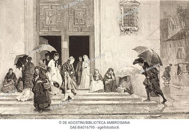 Leaving church after mass, women begging, engraving based on a painting by Raimundo de Madrazo (1841-1920), illustration from La Ilustracion Espanola y...