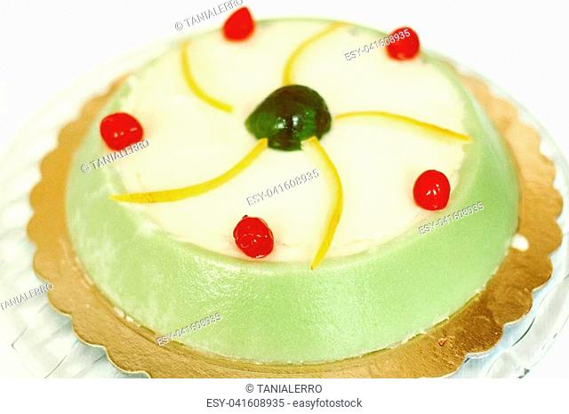 Cassata siciliana cake - traditional italian sweet with ricotta cheese and candied fruit