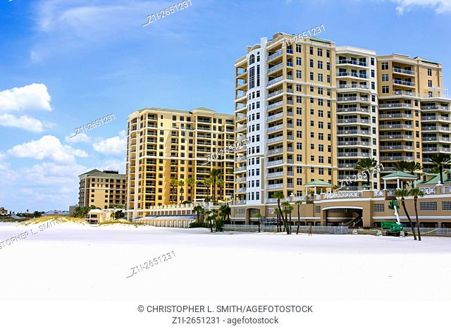 Hotels on waterfront at Clearwater beach in Florida