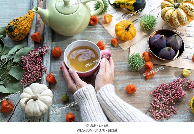 Woman warming her hands on cup of tea in autumn