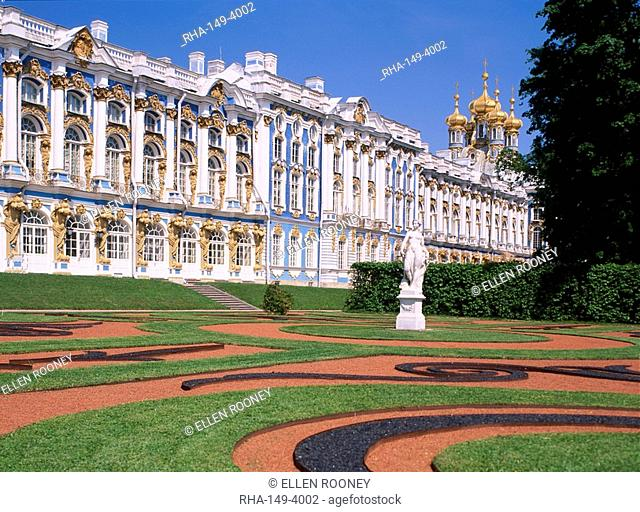 Gardens in front of the Catherine Palace at Pushkin in Russia