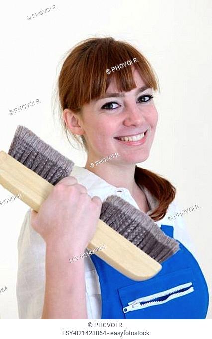 Woman paperhanger