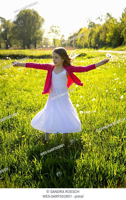 Girl with blowballs moving on a meadow