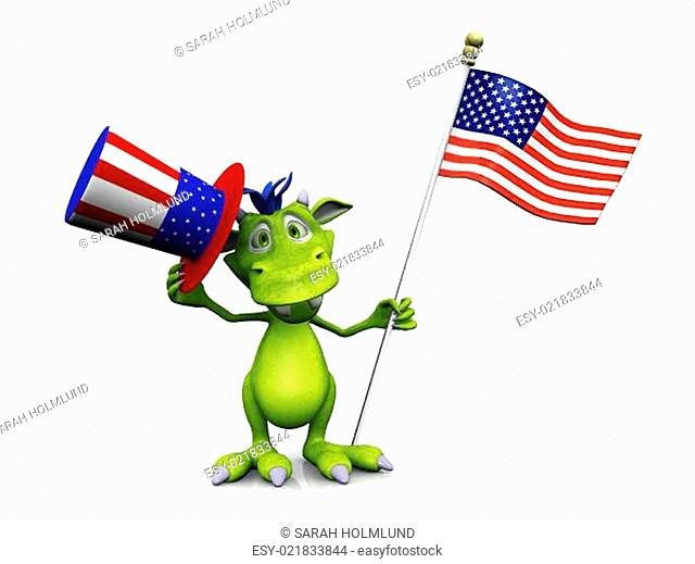 Cute cartoon monster holding an American flag and hat