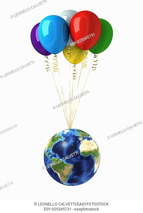 Planet earth lifted by a bunch of flying multicolors balloons. On white background, with clipping path included