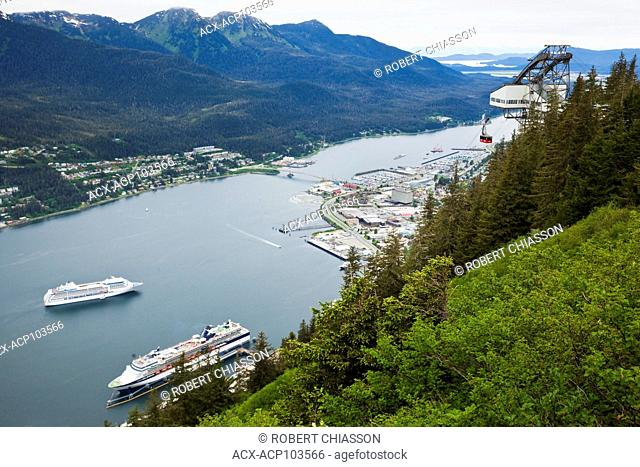 Douglas Island (left), Gastineau Channel, Port of Juneau, and two cruise ships as seen from the top of Mount Roberts, Juneau, Alaska, U.S.A