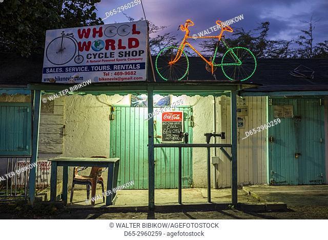 St. Kitts and Nevis, Nevis, Oualie Beach, bike shop, dawn