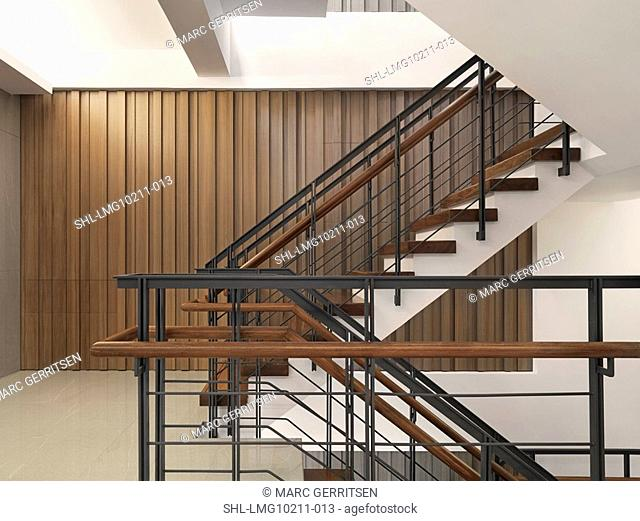 Multi level staircase in modern home