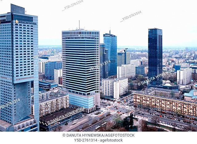 Panoramic view of city center of Warsaw, crossroad - Emilli Plater street Swietokrzyska street, first to left skyscraper Hotel Intercontinental