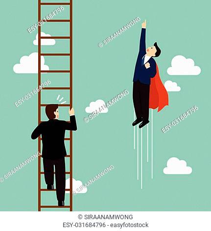 c3d768009ba2d Businessman superhero fly pass businessman climbing the ladder. Business  competition concept
