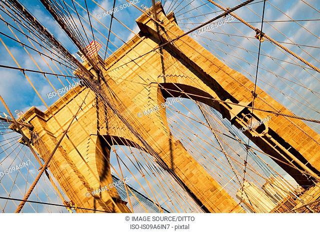 Brooklyn Bridge under blue sky