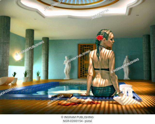beautiful woman in luxury spa interior (Photo compilation. Photo and cg elements combined)