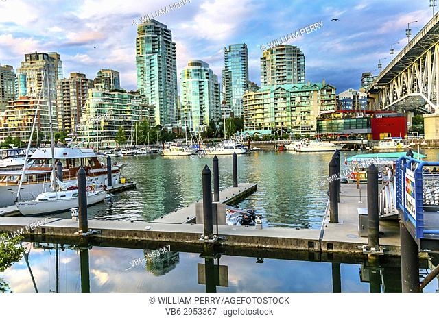 Granville Island Burrard Street Bridge Yachts Apartment Buildings Vancouver British Columbia Canada