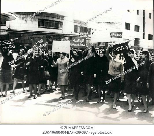 Apr. 04, 1968 - Arab women port3est against planned Israeli Army Parade. photo shows Arab women demonstrators marching through the streets of Arab Jerusalem...