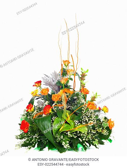 Beautiful bouquet of orange roses. Isolated on white background