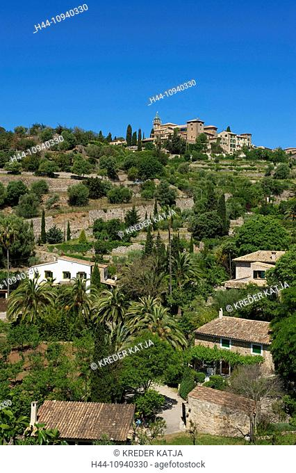 Balearic Islands, Majorca, Mallorca, Spain, Europe, outside, Valldemossa, Valldemosa, town view, day, nobody