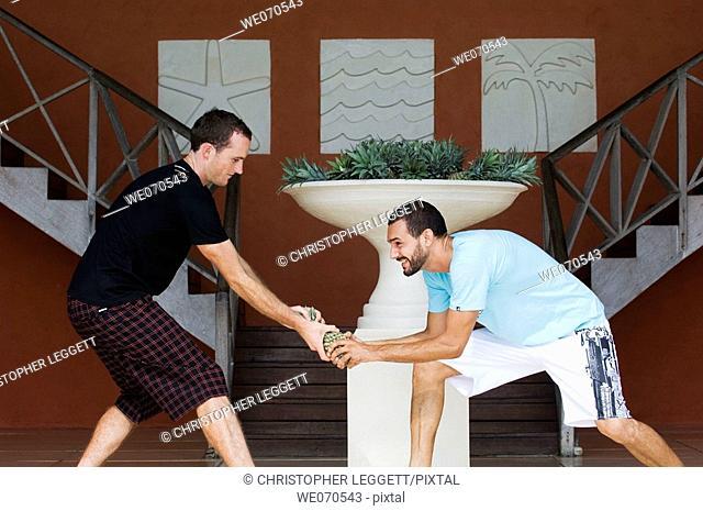 Two men fighting for pineapple