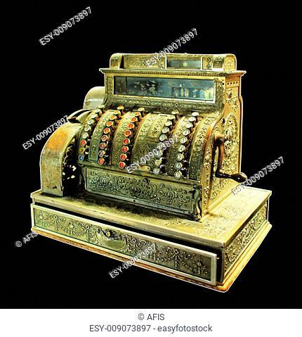 Antique crank-operated cash register