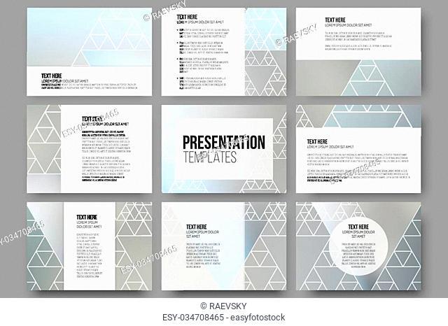 Set of 9 templates for presentation slides. Minimalistic geometric blurred vector backgrounds