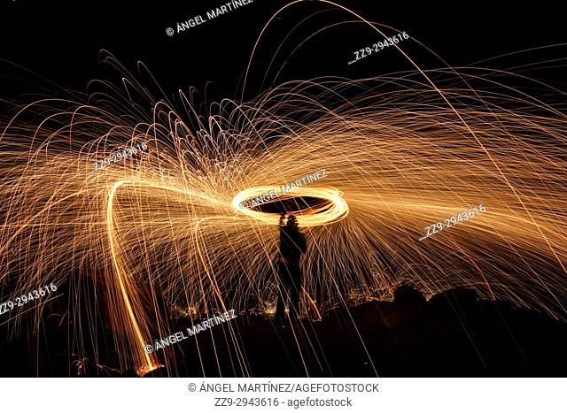 Long exposure of Steel wool at nigth