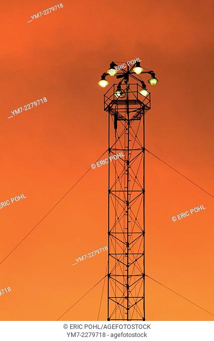 Historic Moonlight Tower - Austin, TX. AKA Moon Tower at sunset, located in downtown Austin at East 11th and Trinity