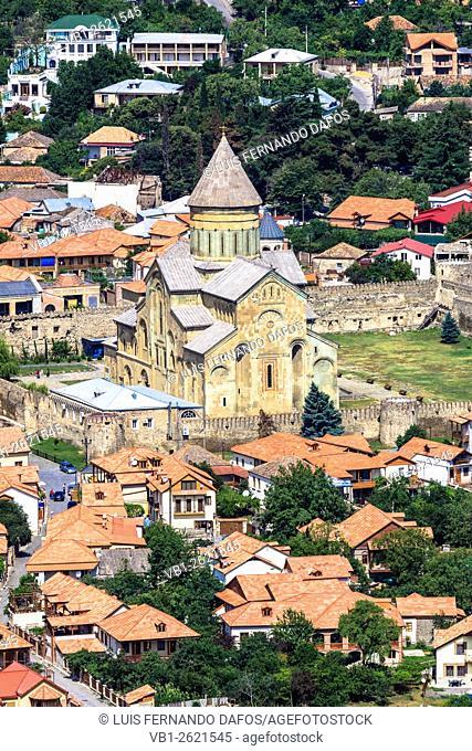 Mtskheta overview with Svetitskhoveli Cathedral. Mtskheta, Georgia